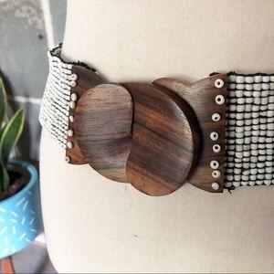 Boho Accessories - BOHO | Seed Beaded Stretch Belt Wood Clasp